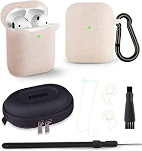 AirPods Case, KMMIN AirPods Case Cover for Apple AirPods 1&2 Wireless Charging Case 7 in 1 Front LED Visible Premium Silicone Case Skin with Airpods Accessories Keychain Storage Box