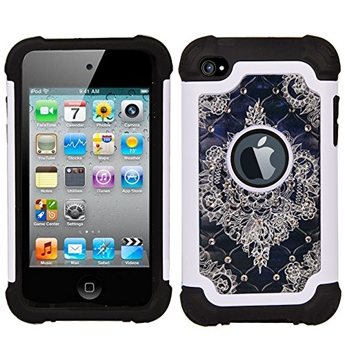 iPod 4 Case, iPod Touch 4 Case, MagicSky [Shock Absorption] Studded Rhinestone Bling Hybrid Dual Layer Armor Defender (Prime 4th Generation Ipod Cases)