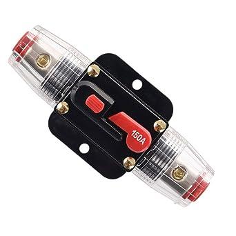 RKURCK 150 Amp Circuit Breaker Manual Reset Waterproof Inline Fuse Inverter for