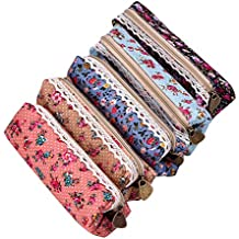 eBoot 7 Inch Flower Pattern Zipper Canvas Pen Pencil Case Stationery Pouch Bag Case Cosmetic Bags, Set of 5
