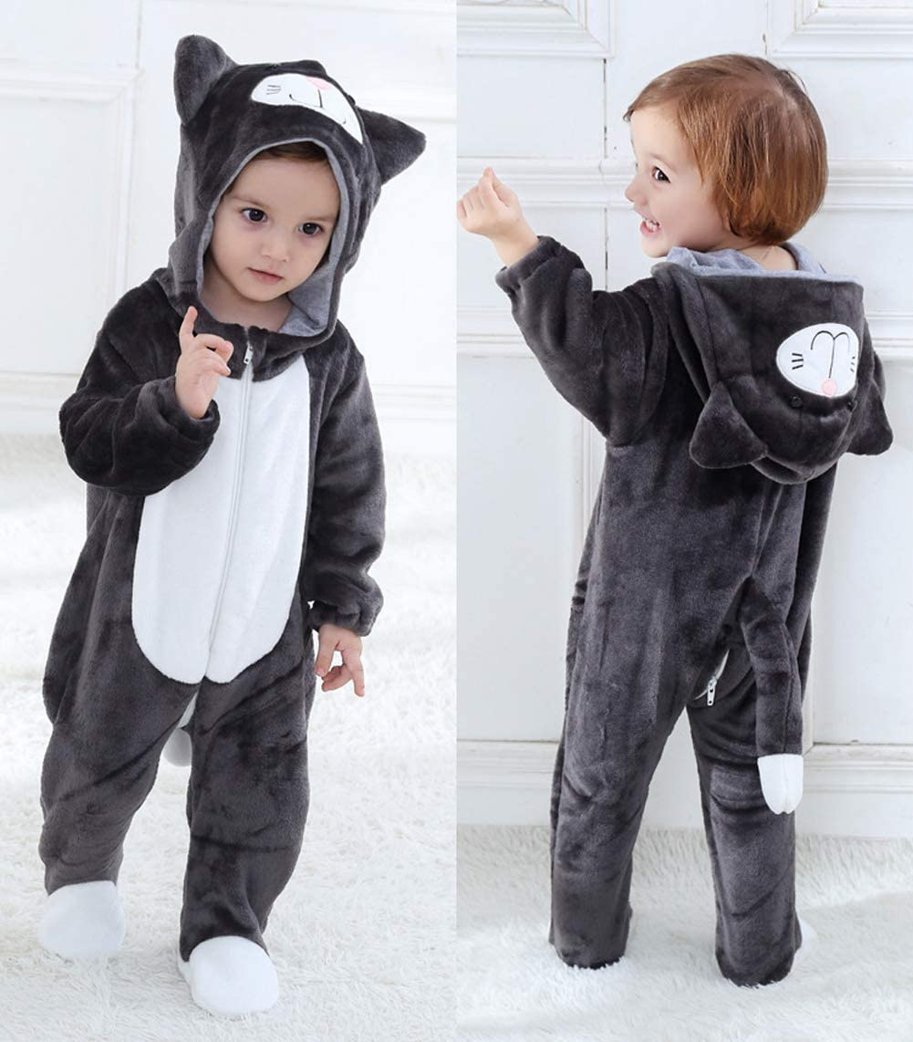 White 3Months-3Years Toraway Baby Kids Cartoon Onesies Baby Animals Cosplay Boys Girls Cute Cartoon Pajamas Bodysuit Romper
