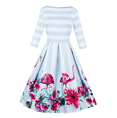 KeKeD23921 Flamingo Print Vintage Dress For Women Long Sleeve Autumn Retro Dress Elegant Pattern Feminino Vestidos