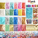 Slime Making Kits Supplies-66 Pack Include Mica/Pearl Powder,Cute Dolphin Like Slices,Glitters,Sugar Papers,Glitter Sheet Jars,Gold Foil,Smile/Heart-Shaped/Animal Slices for DIY Slime Making