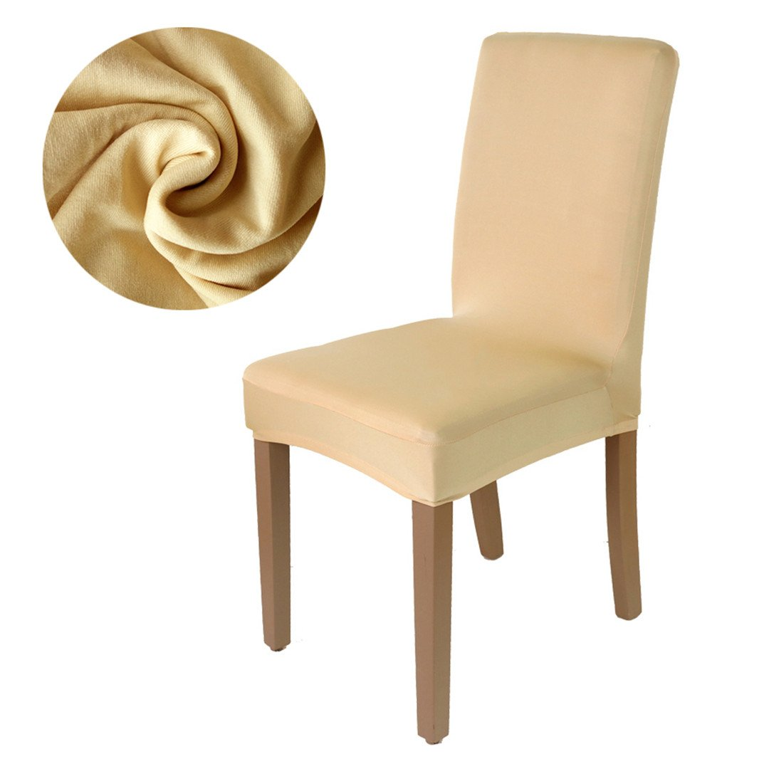 Chair Cover Solid Color Stretch Spandex Fabric Seat Restaurant Hotel Party Banquet Slipcovers Home Decoration Event champagne M size
