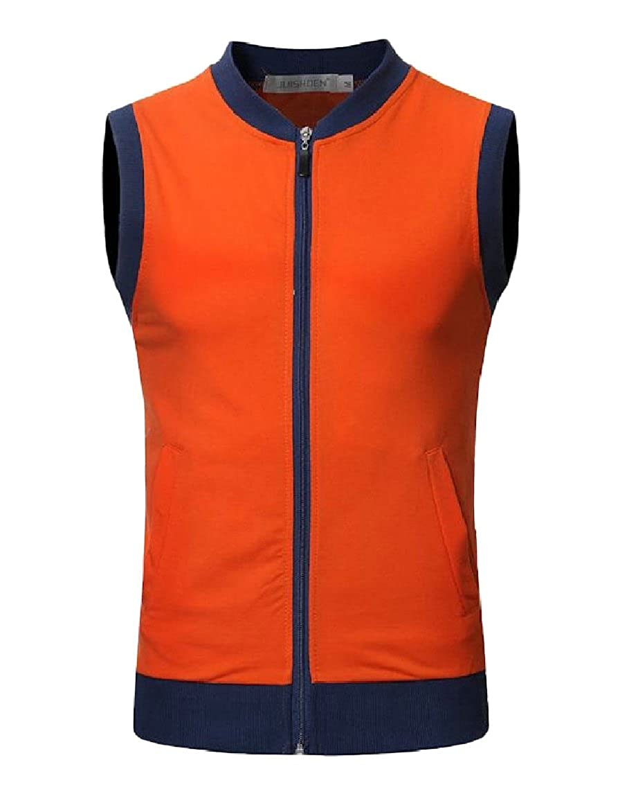 Nicelly Men Casual Sleeveless Zipper Pockets Spell Color Stylish Vest
