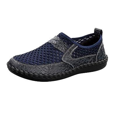 hibote Zapatos Casuales de Malla, Mocasines de Malla Transpirable de Malla de Verano para Hombres, Zapatos Deportivos Ligeros de Senderismo Al Caminar: ...