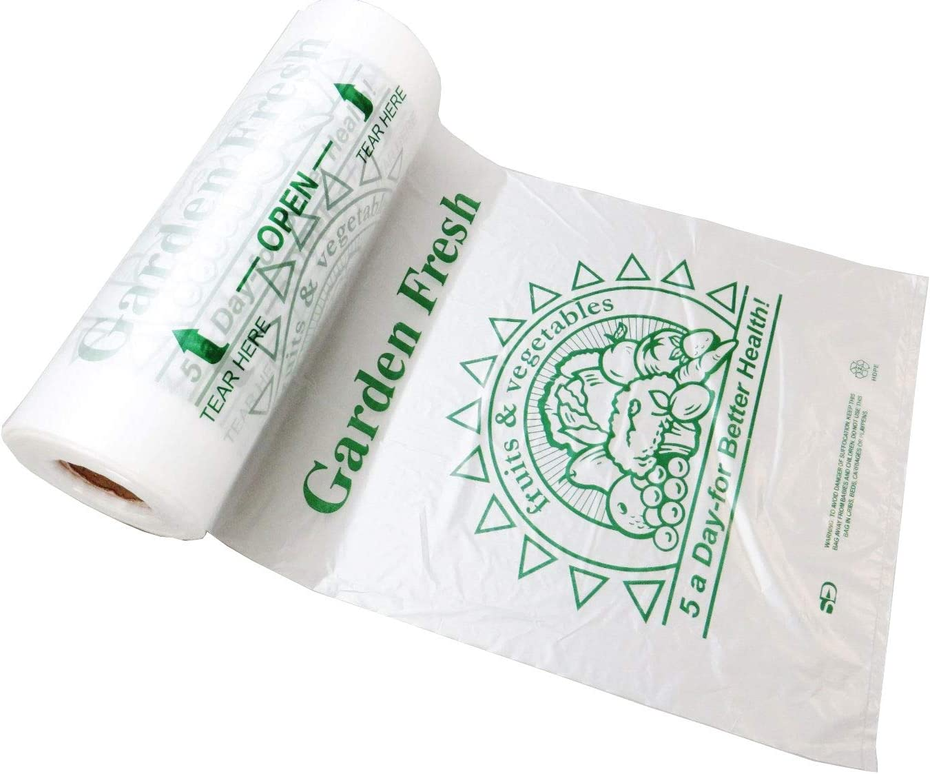 Plastic Bag-Printed HDPE 5-A-Day Produce Rolls 10