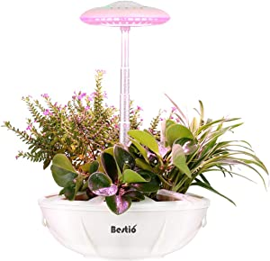 Bestio Indoor Herb Garden Plant Flower Starter Smart Grow System with LED Grow Light Auto Lighting Self-Watering Natural Full Spectrum for Indoor Seed Herb Plant Growing-White