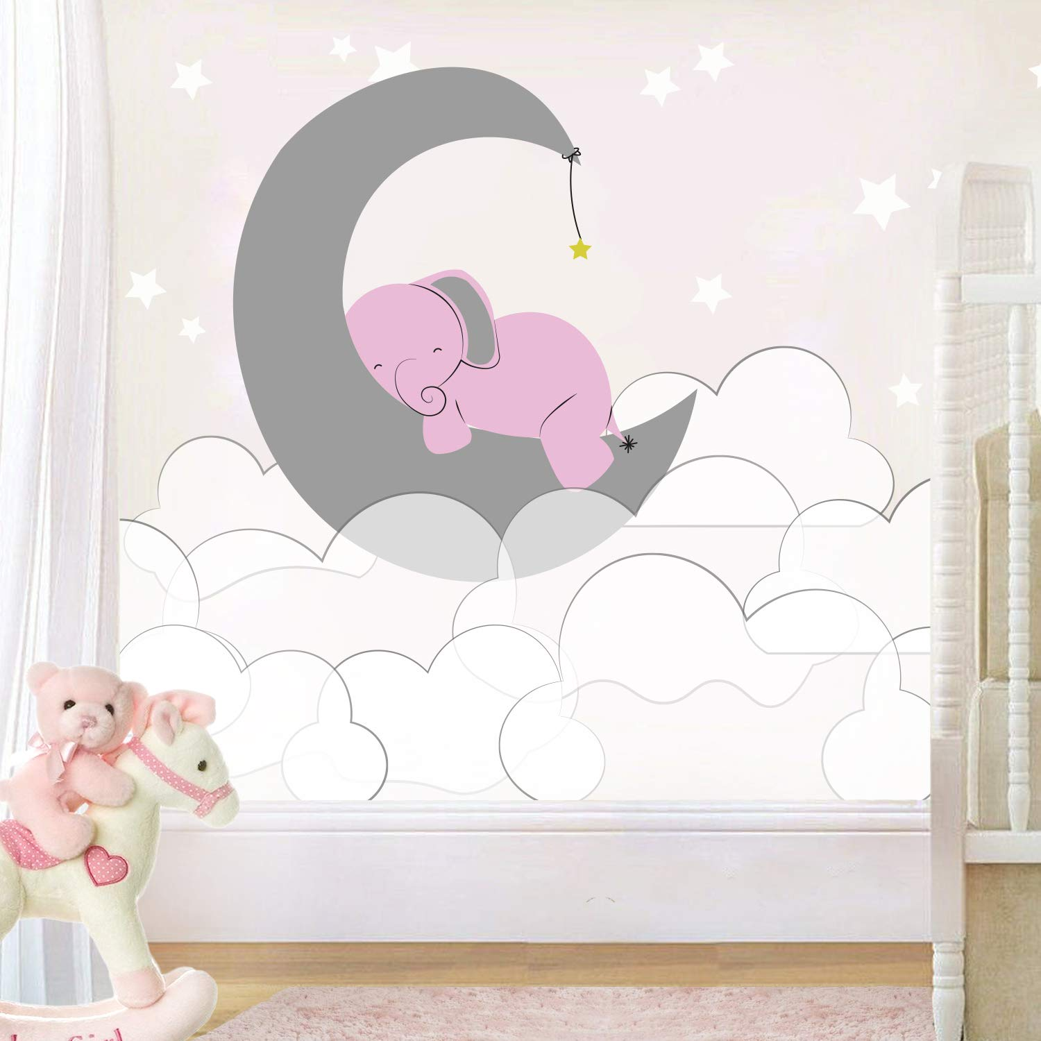 e-Graphic Design Inc Elephant Moon Clouds and Stars - Baby Girl - Nursery Wall Decal for Baby ROM Decorations - Mural Wall Decal Sticker for Home Children's Bedroom (J236) (Wide 44''x24'' Height) by e-Graphic Design Inc