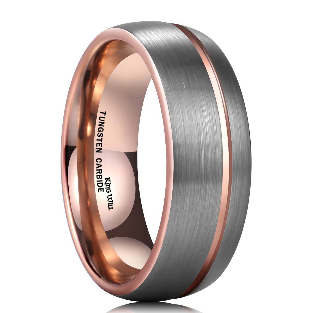 King Will 8mm Rose Gold Thin Line Tungsten Carbide Wedding Ring Dome Band Groove Center(13)