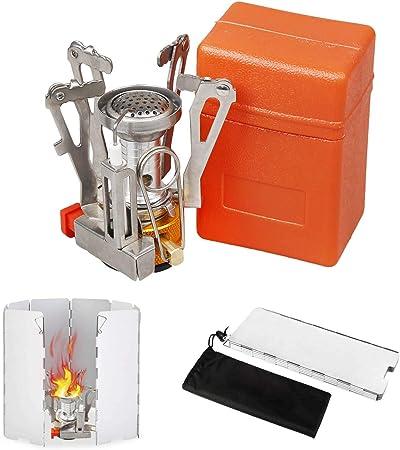 X.Store Mini Estufa de Camping y Parabrisas, Ultraligero portátil al Aire Libre Backpacking, Estufa de Camping pequeña con Encendido Piezo