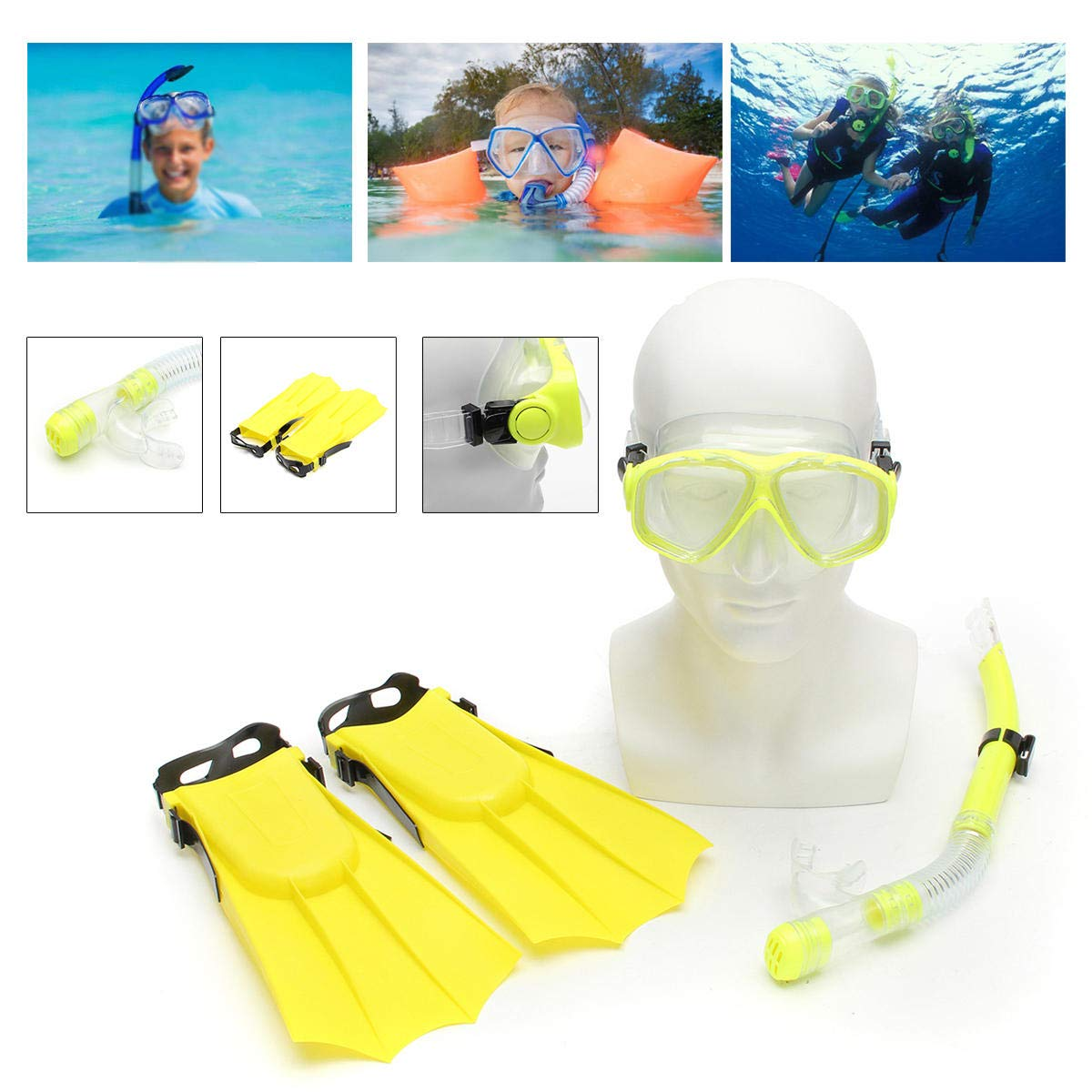 Shop Sport Kid Snorkel Mask Scuba Goggles + Breathing Tube+ Webbed Feet Swimming Diving Set - Yellow by Shop Sport (Image #2)