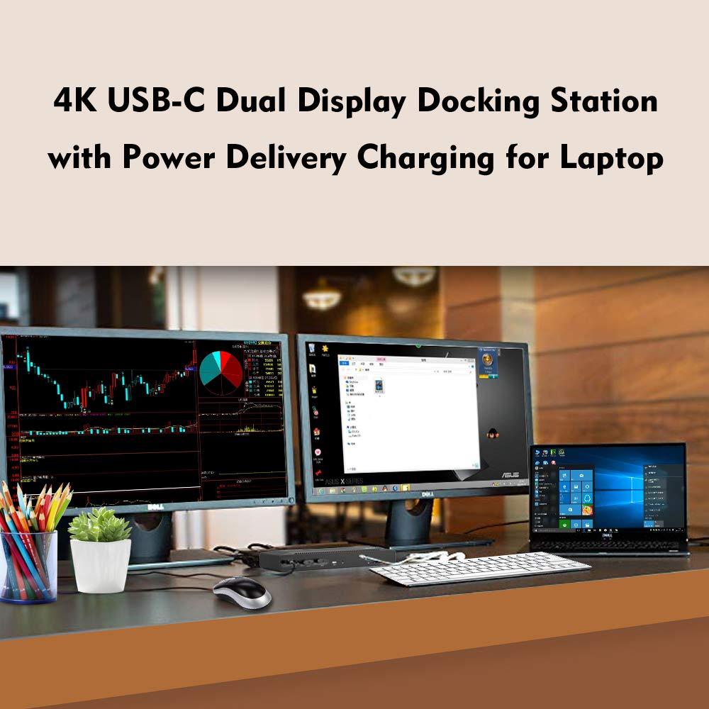 WAVLINK USB C Dual 4K Docking Station with 60W Power Delivery- Thunderbolt 3 Compatible, 5K Single Video Display, 2xDisplay Port, 2xHDMI, Gigabit Ethernet, 2 USB 3.0 Port, 2 Type C by WAVLINK (Image #3)
