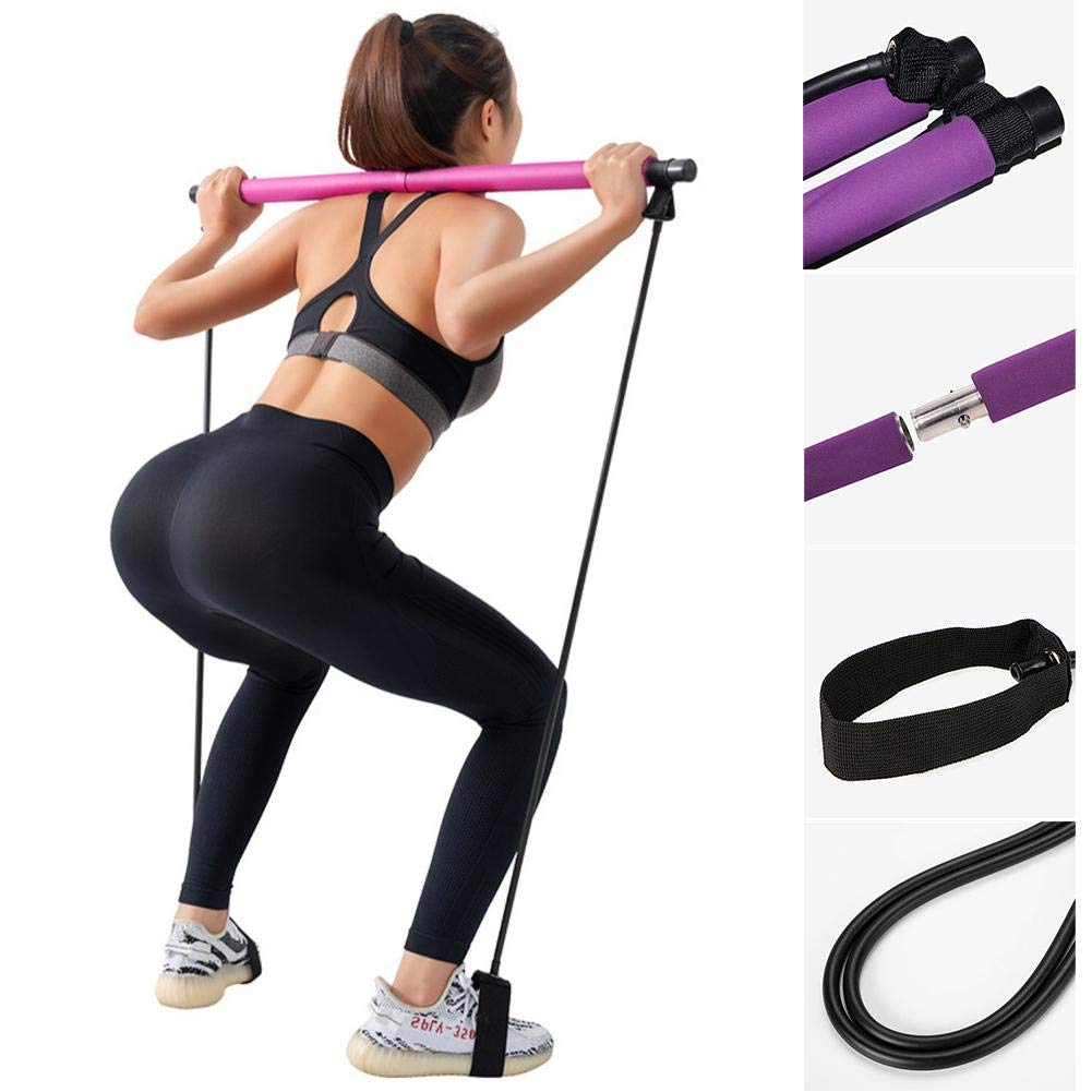 Buy Portable Pilates Bar Kit with Resistance Band Exercise Stick | Yoga  Pilates Reformer Resistance Band Toning Bar Stick | Yoga Exercise Bar with  Foot Loop Online at Low Prices in India -