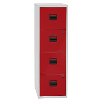 Archivador para carpetas colgantes PFA – 4 cajones – gris claro/rojo Cardinal – Armario