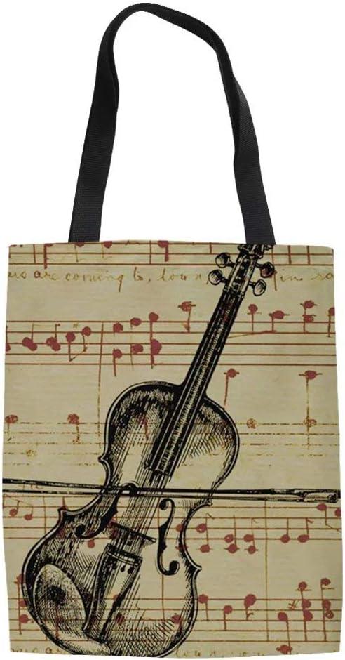 Violin Canvas Tote Bag Shoulder Bag Handbags Shopping Bag Gift Bag For Party