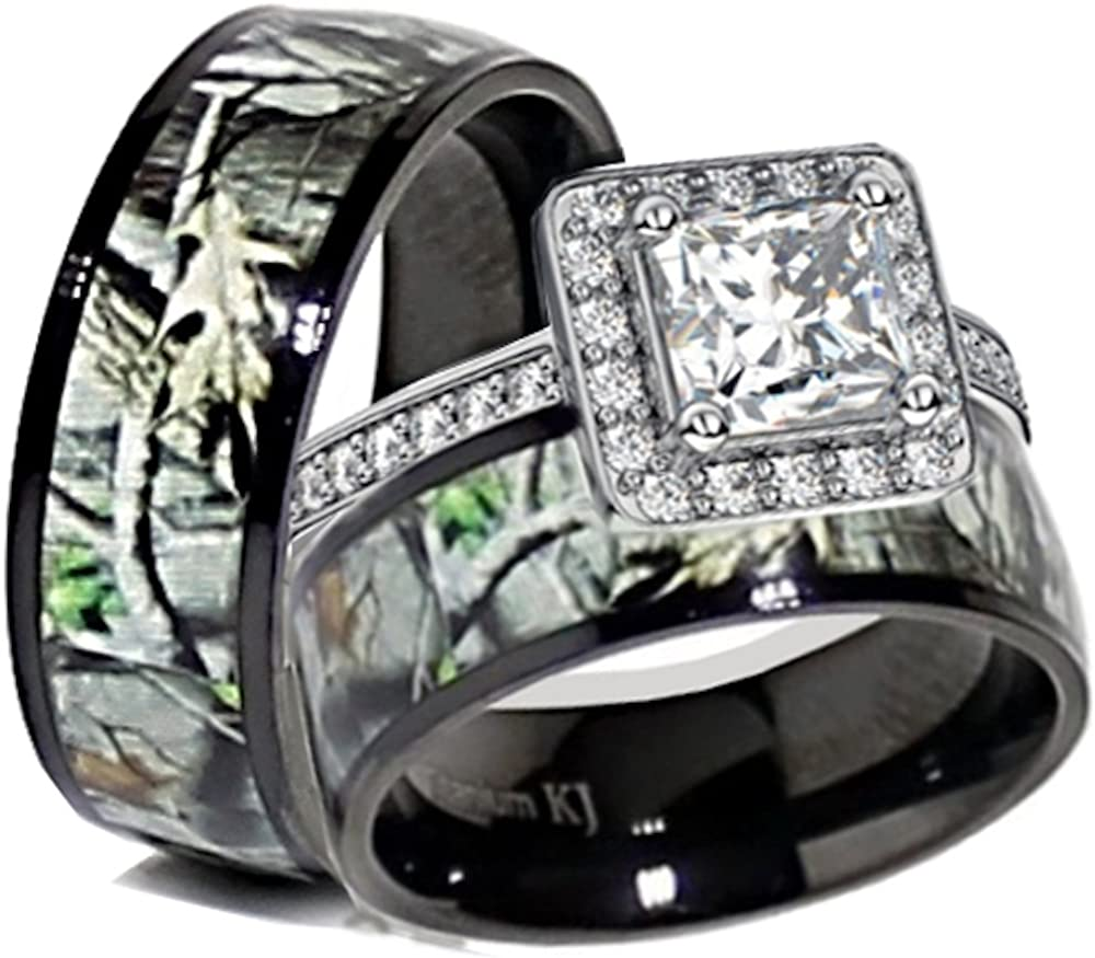 Kingsway Jewelry His & Her Black Titanium Camo Sterling Silver Halo Engagement Wedding Ring Set