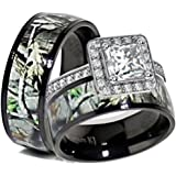 Wonderful His U0026 Her Black Titanium Camo Sterling Silver Halo Engagement Wedding Ring  Set