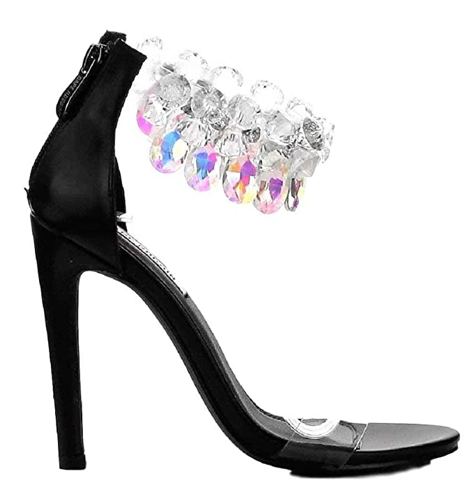 Amazon.com | CAPE ROBBIN Suzzy-54 Rhinestone Crystal Chandelier Ankle Strap Satin Stiletto Heel Sandal Black | Heeled Sandals