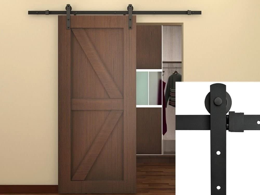TMS 6FT Black Country Barn Wood Steel Sliding Door Hardware Closet Set Antique Style