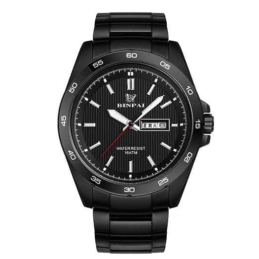 Hombre Reloj deportivo,Relojes militares Reloj de cuarzo 100m resistente al agua Luminoso Correa de acero inoxidable Doble calendario Business Reloj de ...