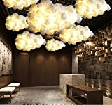 Injuicy Lighting Modern Led Pendant Lights Fixture Ceiling Hanging Lamps Shades Cotton Cloud Chandeliers for Girls Children's Rooms Living Room Bedrooms Decoration Gift (Dia. 23.62inch White Light)