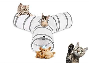 aokuy Túneles para Gatos,Túnel de Gato3 Vías Plegable Juguete del Gato/Divertido Juego