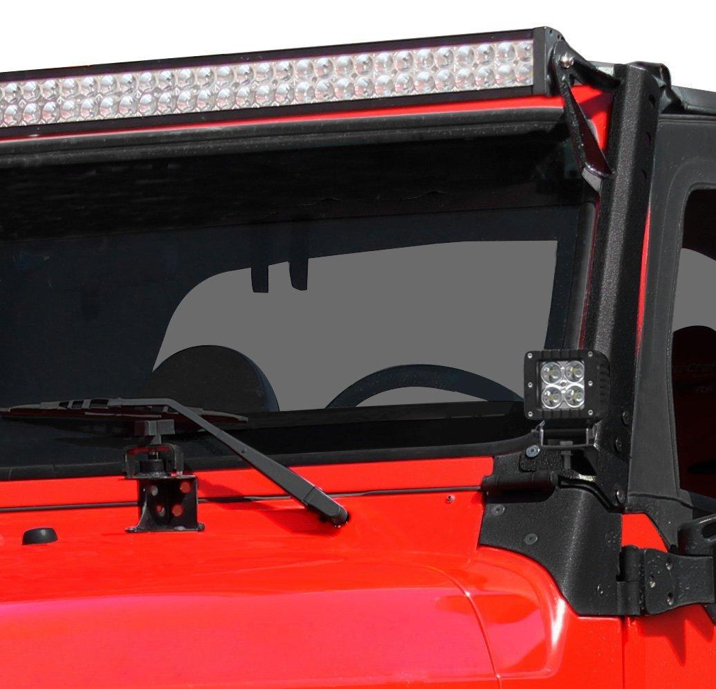 E Autogrilles 97 06 Jeep Wrangler Tj Steel Upper Windshield Lights Wiring Mounting Brackets For 52 Led Light Bar 51 0452 Automotive
