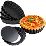 MEICHU Mini Tart Pan with Removable Bottom 6PCS, Nonstick Quiche Pan, 4 Inch Quiche Pan Set of 6