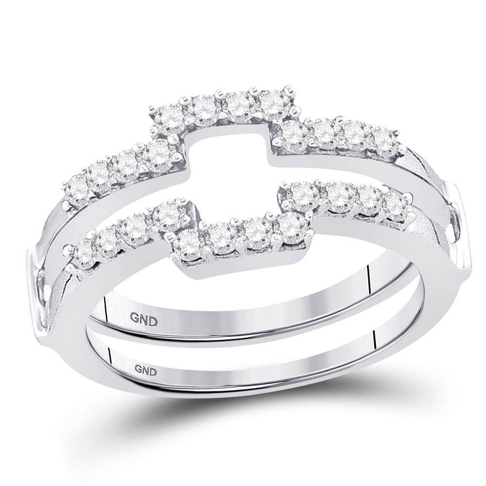 Jewel Tie Solid Size 7-14k White Gold Round Diamond Square Wrap Ring Guard Enhancer Wedding Band 1/2 Cttw