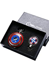 Conbays Silver Captain Cosplay Avengers Shield America Quartz Pocket Watch with Chain & Gift Box