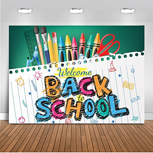 Mehofoto Back to School Backdrop Blackboard Notebook Photography Background 7x5ft Vinyl Pencil Back to School Themed Party Banner Decoration Backdrops (Best Back To School Laptop)