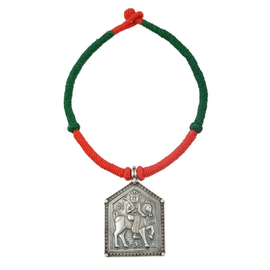 Jewels Of Jaipur Womens Antique Traditional Choker Two Color Thread Silver Plated Necklace Tnk-120