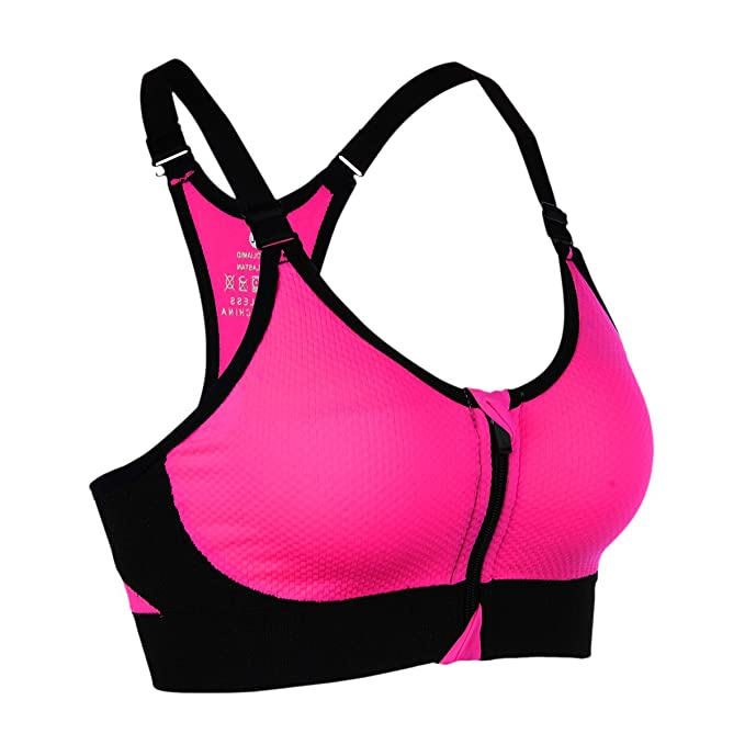 sujetador deportivo con tirantes ajustables rosa neón