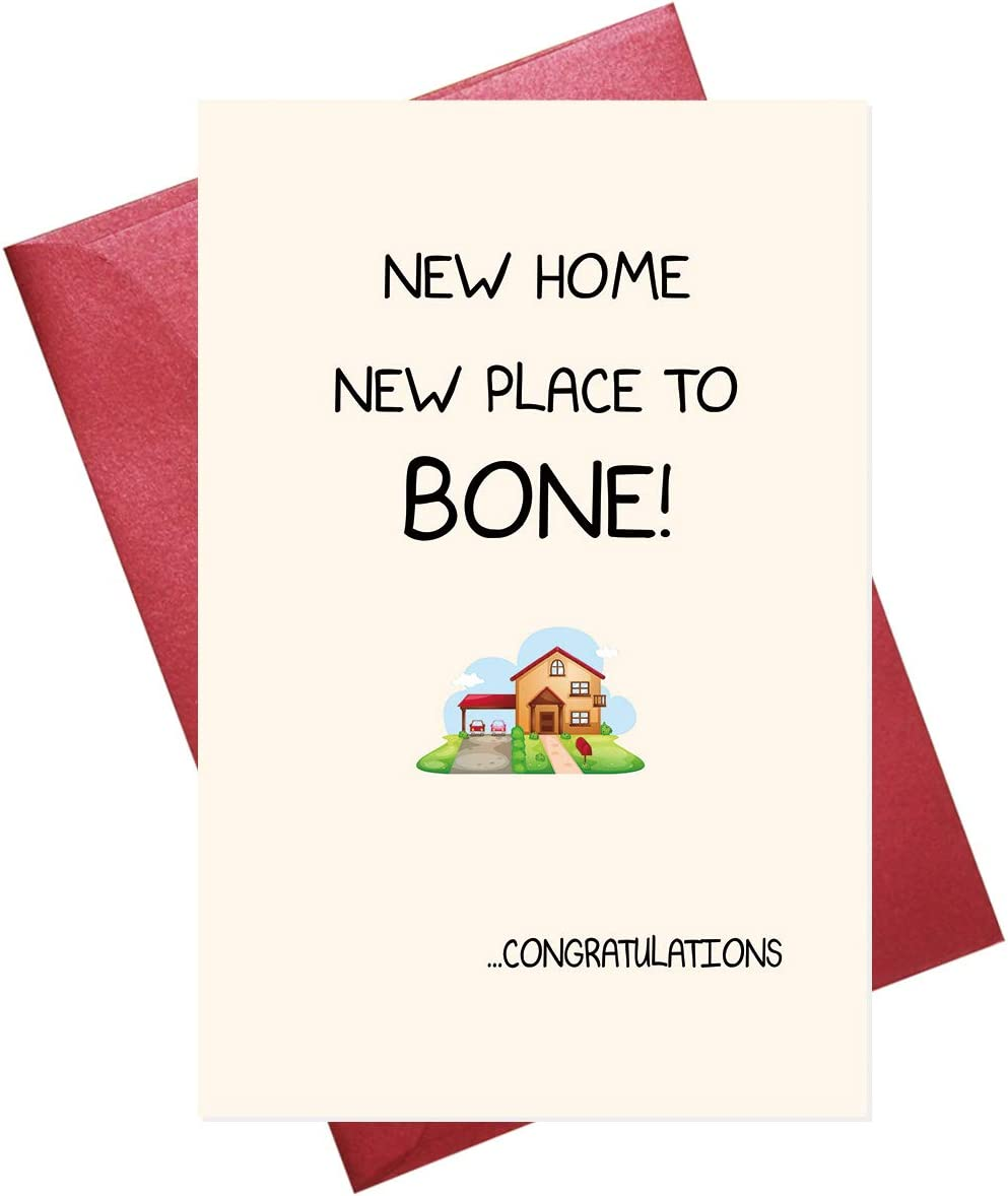 Funny New Home Card, Housewarming Card, Congratulations Card for Housewarming, Moving House, Blank Inside (5.3'' x 8'' folded)