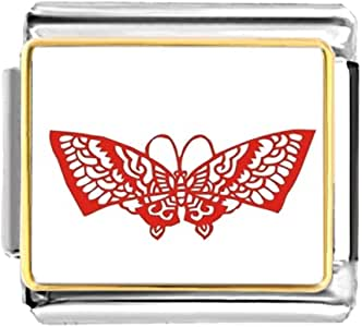 Chicforest Gold Plated Cartoon paper-cut Butterfly Bracelet Link Photo Italian Charms