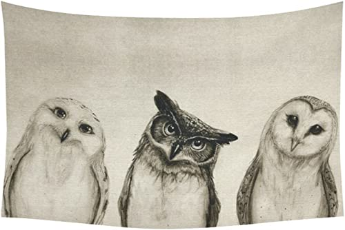 D-Story Custom Wall Tapestry Cute Owl Cotton Linen Tapestry Wall Hanging 60 x 40 Wall Art Home Decor
