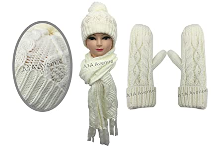 bae622132d5a2f Image Unavailable. Image not available for. Colour: New Stylish Womens  Ladies Woolly Thick Knit Hat Scarf And Mitten Gloves Set ...