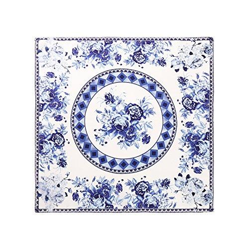 Aqueena Women's 100% Luxury Square Silk Neckerchief Digital Printing Scarf (Blue and white porcelain)