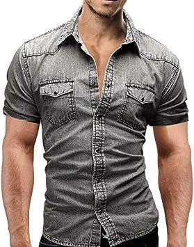 CHENS Camisa/Casual/Unisex/L Hombres Jeans Camisas Verano Algodón Lavado con Agua Tops Hombre de Manga Corta Estampado de Flores Camisa de Mezclilla Hombres: Amazon.es: Deportes y aire libre