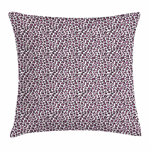 Ambesonne Leopard Print Throw Pillow Cushion Cover, Pink and Black Colored Girlish Pattern Safari Savannah Wildlife Theme, Decorative Square Accent Pillow Case, 20 X 20 inches, Pink Black White