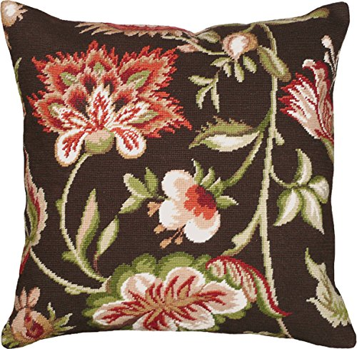 (123 Creations Wool Needlepoint Pillow, Jacobean Floral)