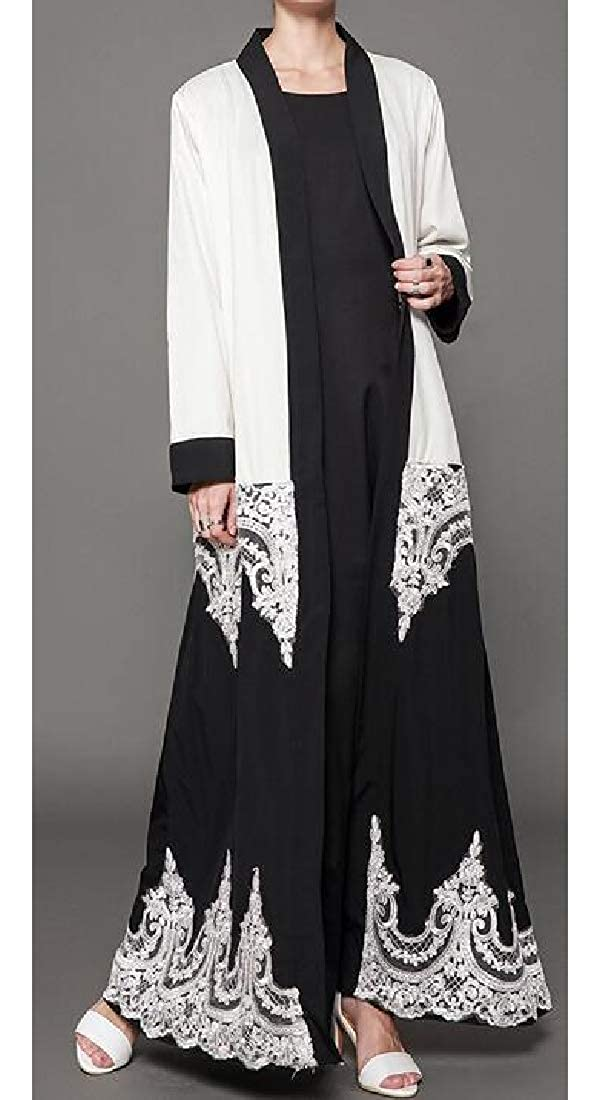 GRMO Women Muslim Stitching Middle East Lace Loose Fit Cardigan Robes Maxi Dress