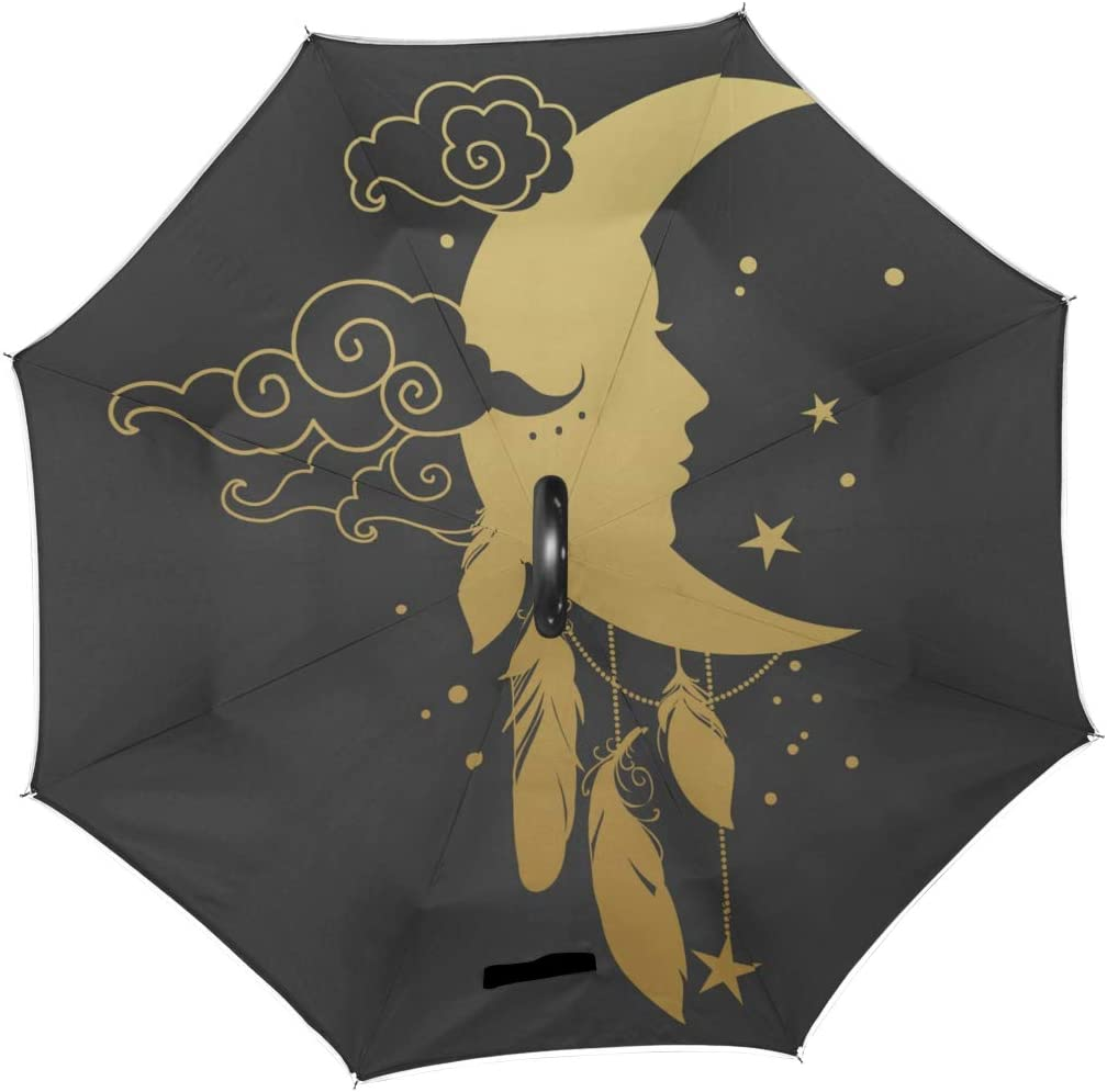 Double Layer Inverted Inverted Umbrella Is Light And Sturdy Crescent Moon Human Face On Black Reverse Umbrella And Windproof Umbrella Edge Night Refl