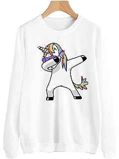 COCO clothing Otoño Sudaderas de Mujer Sport Blanco Top Pullover Manga  Larga Camisetas Chica Casual Unicornio 49a19b289372