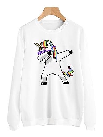 COCO clothing Otoño Sudaderas de Mujer Sport Blanco Top Pullover Manga Larga Camisetas Chica Casual Unicornio
