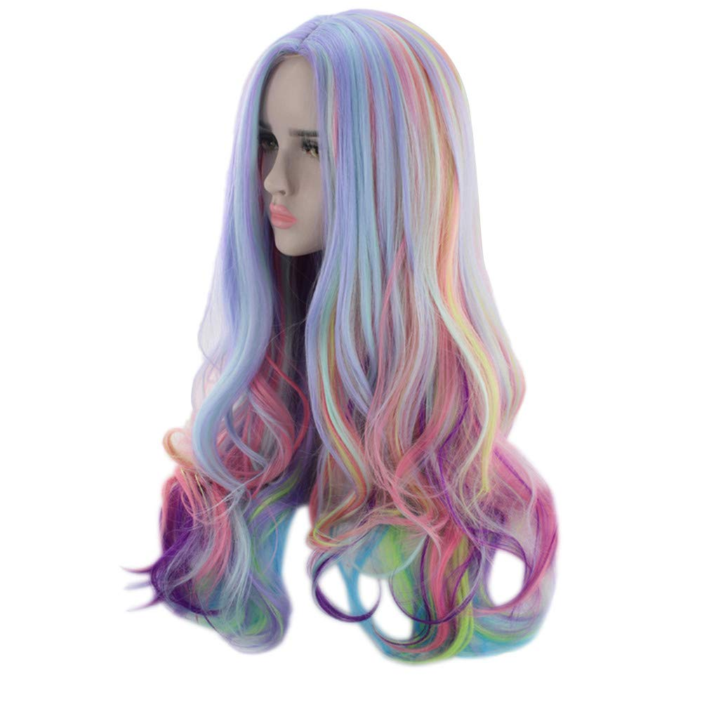 monokini Wig Human Hair [by Mollikar] Long Curly Multi-Color Charming Full Wigs for Cosplay Girls Party or Daily Use