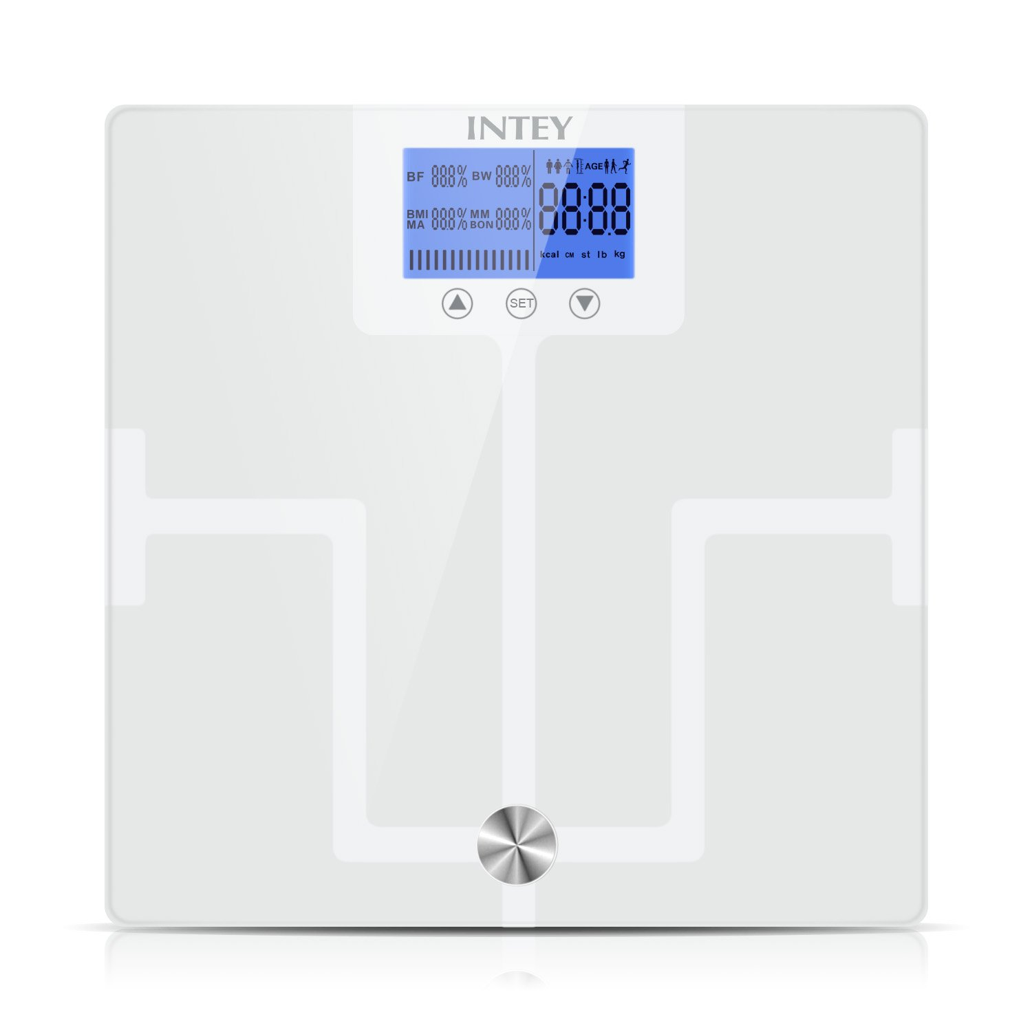 INTEY Body Fat Scale, Body Composition Monitor of Body Weight, Fat, BMI, Water, Muscle, BMR, Bone Mass, Analyzer with Large Backlit LCD Display (white)