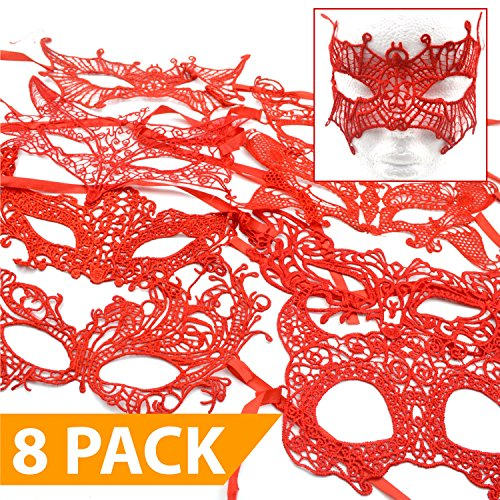 Masqerade Masks [Red] - 8 PACK - Great for a 2017 Halloween Costume -