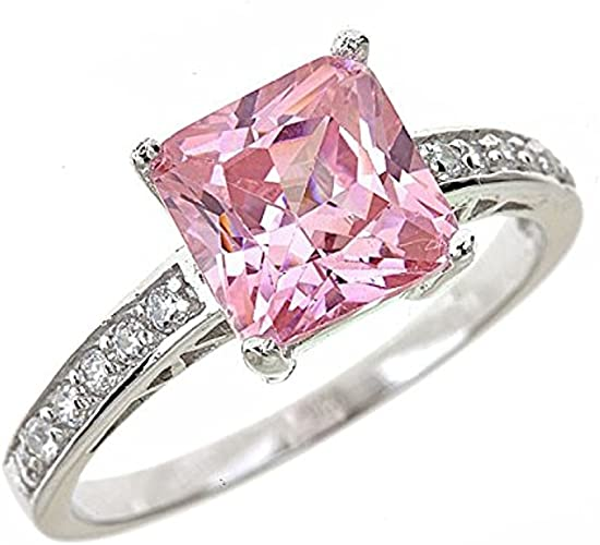 Princess Cut Rose Pink CZ Silver Stainless Steel Ladies Ring New